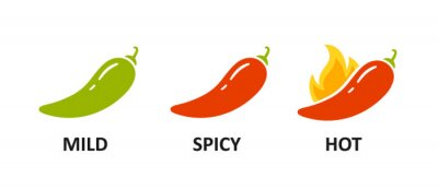 Wall mural Spice level marks - mild, spicy and hot. Green and red chili pepper. Symbol of pepper with fire. Chili level icons set. Vector illustration isolated on white background.
