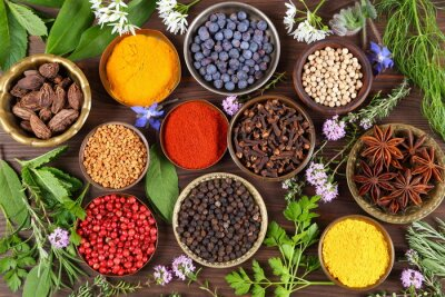 Wall mural Spices and herbs.
