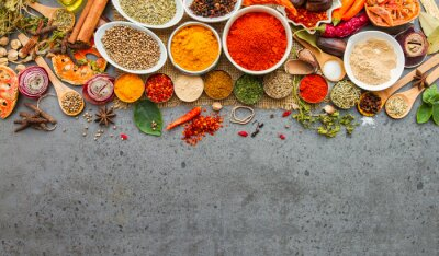 Wall mural Spices and herbs.Food and cuisine ingredients.