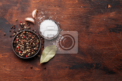 Wall mural Spices for meat. Salt and pepper