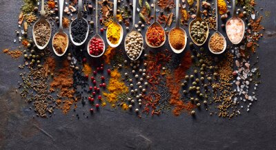 Wall mural Spices on black graphite board