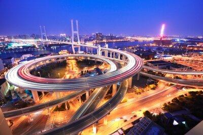 Wall mural Spiral bridge in Shanghai Huangpu River on the bird's eye view o