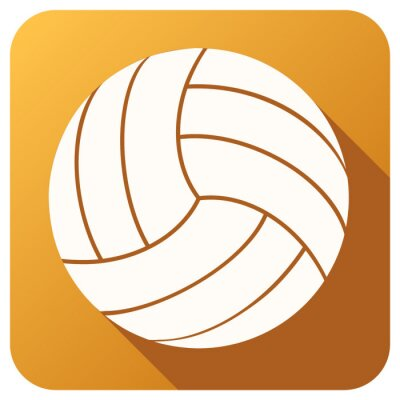 Wall mural Sport icon with volleyball ball in flat style. Vector