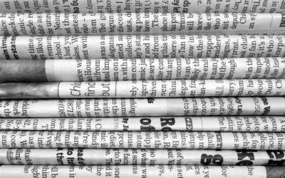 Wall mural Stack of newspapers in black and white