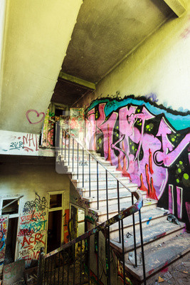 staircase from abandoned factory