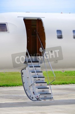Wall mural Stairs on a luxury private jet aircraft - Bombardier Global Express