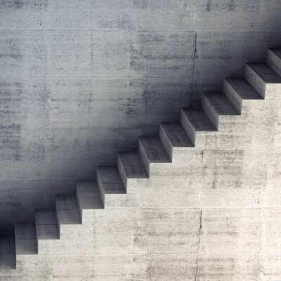 Wall mural Stairs on the wall, abstract concrete interior 3d