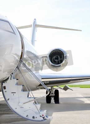 Wall mural Stairs with Jet Engine on a modern private jet airplane - Bombardier Global Express
