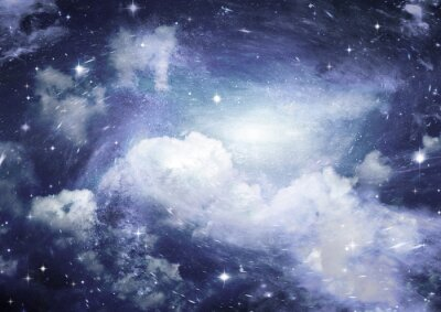 Wall mural Star field in space and a nebulae