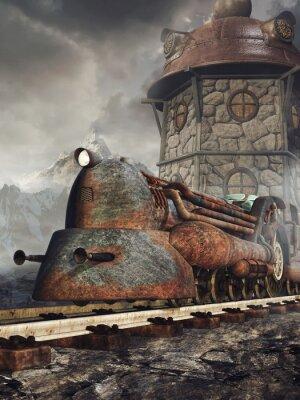Wall mural Stara zardzewiała lokomotywa na tle wieży