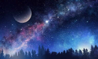 Wall mural Starry sky and moon. Mixed media