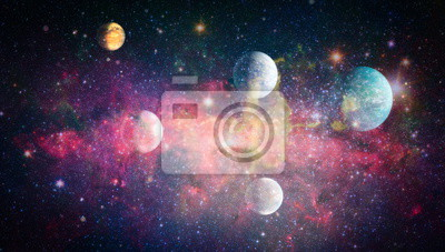 Wall mural Stars of a planet and galaxy in a free space. Elements of this image furnished by NASA .