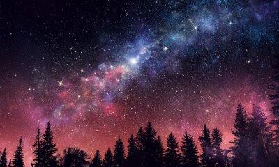 Wall mural Stary clear night sky. Mixed media
