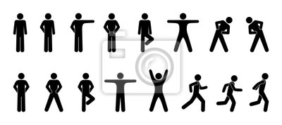 Wall mural stick figure, set of icons people, basic movement, man poses, pictogram human silhouettes