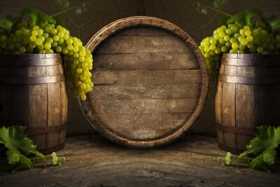Wall mural Still life of wine with wooden keg