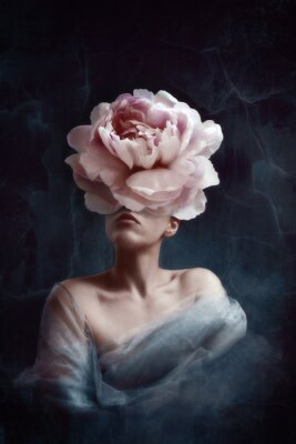 Wall mural Strange fine art concept. The body of a woman, her head is a peony