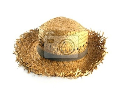 Wall mural Straw hat on white background