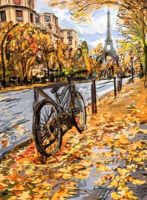 Wall mural Street in autumn Paris. Eiffel tower -sketch illustration