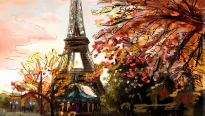 Wall mural Street in paris. Eiffel tower -  illustration