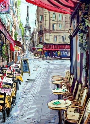 Wall mural Street in paris - illustration