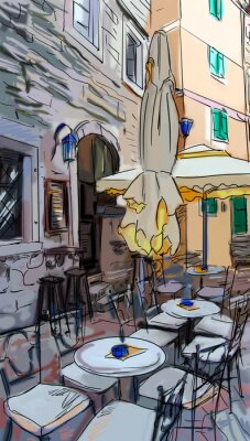 Wall mural Street in Roma - illustration