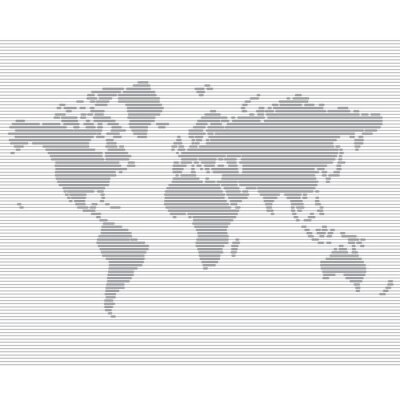 Wall mural striped line world map vector template