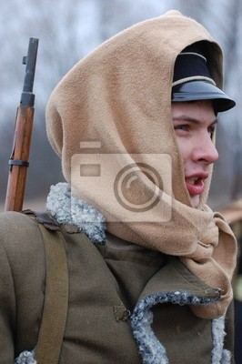 Wall mural student soldier,Civil War in Russia reenacting - 1918