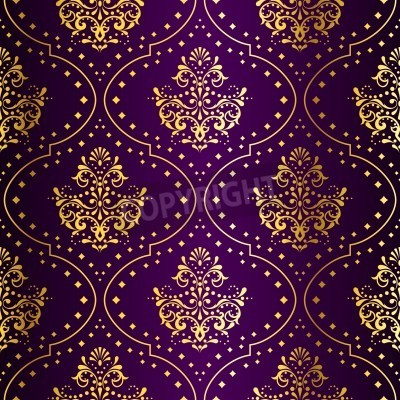 stylish vector background with a metallic damask pattern inspired by Indian fabrics. The tiles can be combined seamlessly. Graphics are grouped and in several layers for easy editing. The file can be