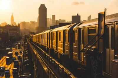 Wall mural Subway Train in New York at Sunset