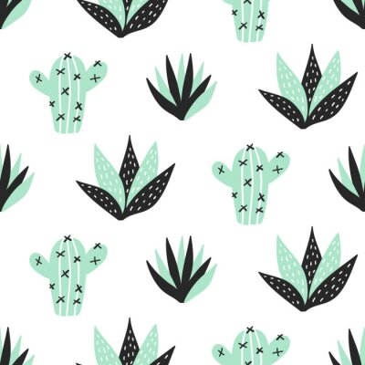 Wall mural Succulents plants seamless pattern