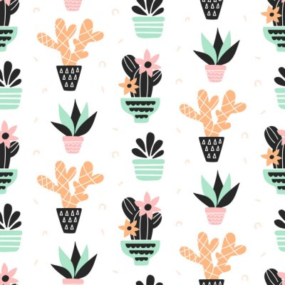 Wall mural Succulents plants seamless pattern, mint and quartz colors, isolated on white