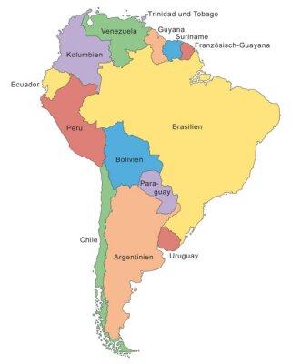 Wall mural Südamerika Karte in Farbe (mit Beschriftung)