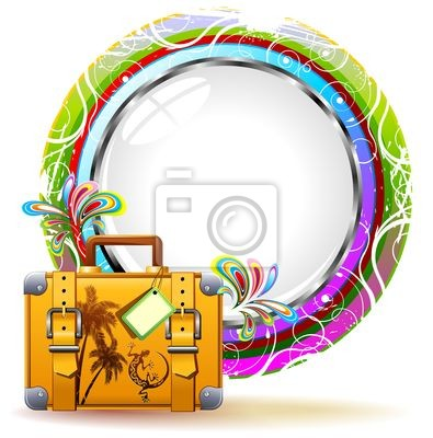 Suitcase Travel Exotic Design- Colorful Travel Suitcase Label