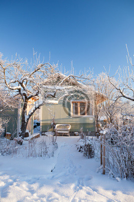 Wall mural Summer cabin at winter. Clear blu sky.