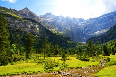 Summer mountain landscape. Gavarnie Cirque in the Pyrenees national park. France.