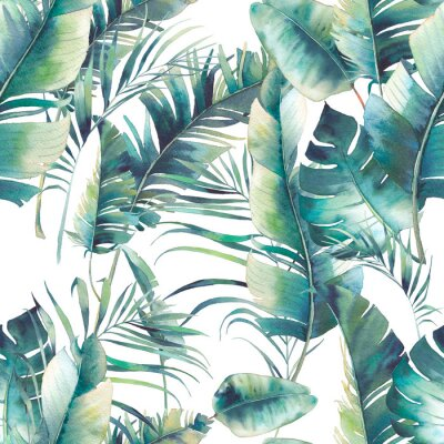 Wall mural Summer palm tree and banana leaves seamless pattern. Watercolor texture with green branches on white background. Hand drawn tropical wallpaper design