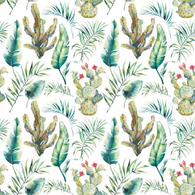 Wall mural Summer palm tree, cactus and banana leaves seamless pattern. Watercolor green branches and flowering succulent on white background. Exotic wallpaper design