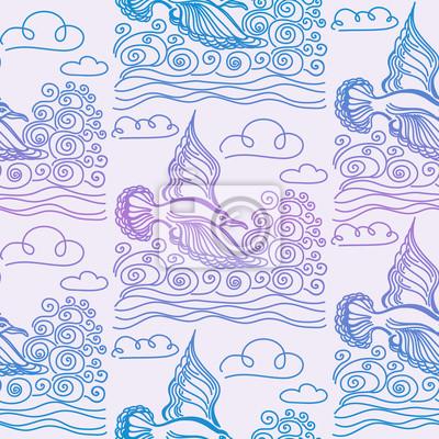 Wall mural Summer sea seamless pattern. Illustration of bird seagull, sky