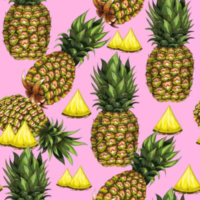 Wall mural Summer seamless pattern with hand-drawn pineapple on a pink background. Vector illustration.