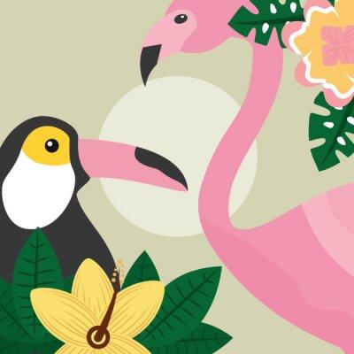 Wall mural summer time tropical birds toucan and flamingo vector illustration