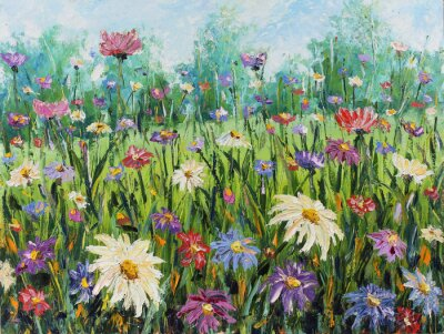 Wall mural Summer wild flowers, oil painting