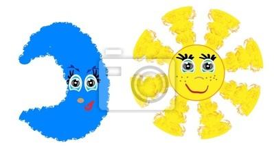 sun and moon, vector