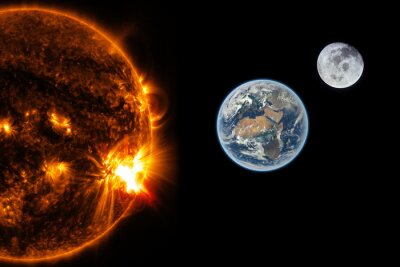 Wall mural Sun, earth and the moon - Elements of this image furnished by NASA