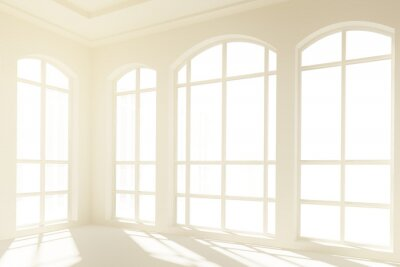 Wall mural Sunny white interior with big windows