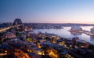 sunrise, Aerial view of Sydney with Harbour Bridge, Australia