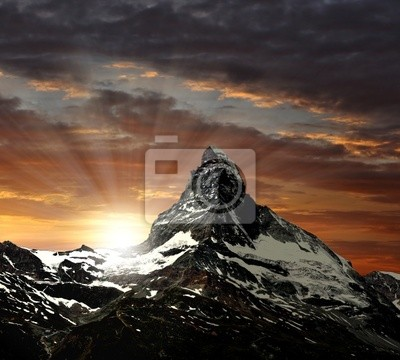 Wall mural sunrise on the Matterhorn
