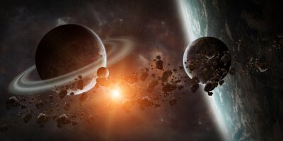 Wall mural Sunrise over distant planet system in space 3D rendering element