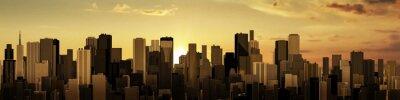 Wall mural Sunrise-sunset city panorama / 3D render of modern city at sunrise or sunset