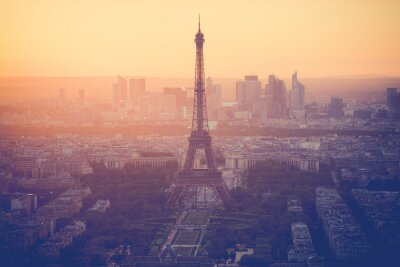 Wall mural Sunset at Eiffel Tower in Paris with vintage filter