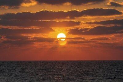 Sunset at sea in Haifa, Israel